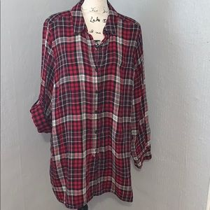Red plaid flannel tunic